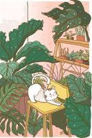 niedliche Gekritzel weiße flauschige Katze in der Mitte der tropischen Blätter Bäume Wald im Zimmer, Idee für Wandkunstdruck, Kinderzimmer, Kind, Kinder Zeug drucken, Grußwagen vektor