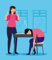Frauen am Arbeitsplatz gestresst vektor