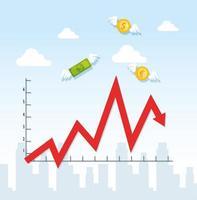 aktiemarknadskrasch med infografik och ikoner