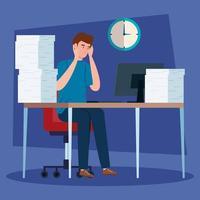 man stressad på arbetsplatsen vektor