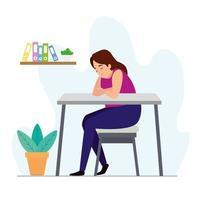 kvinna trött på arbetsplatsen vektor