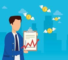Börsencrash mit Geschäftsmann und Münzen