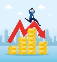 aktiemarknadskrasch med affärsmannen orolig och ikoner
