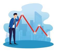 Börsencrash mit Geschäftsmann und Pfeil nach unten