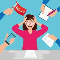 kvinna stressad på arbetsplatsen vektor