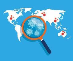 världskarta med covid 19 sjukdomsplats vektor