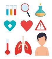 uppsättning covid 19 pandemiska ikoner