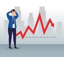 aktiemarknadskrasch med affärsman och pil ner