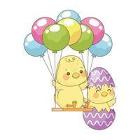söta små kycklingar i målat äggskal med heliumballonger vektor