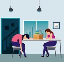 Frauen am Arbeitsplatz depressiv vektor