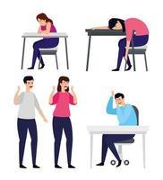 grupp människor med depression och stress vektor