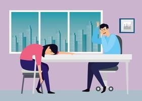 Paar am Arbeitsplatz gestresst vektor