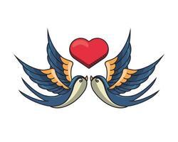 schöne Vögel fliegen mit Herz vektor