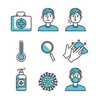 uppsättning covid 19 pandemiska ikoner vektor