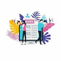 Online-Nachrichten, Zeitung, Nachrichten-Website flache Vektor-Illustration. Nachrichten-Update, Nachrichtenartikel, Internet-Zeitung, digitale Inhalte, elektronische Mediendienste für Web-Banner und Apps