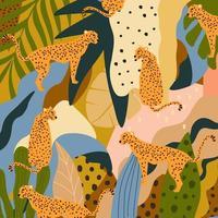 Leoparden und tropische Blätterplakathintergrundvektorillustration. trendiges Wildtiermuster vektor