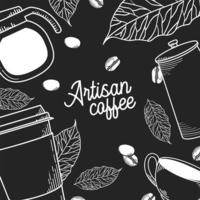 Handwerker Kaffee Hintergrund Vektor-Design vektor