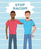olika män med stopp rasism kampanj vektor
