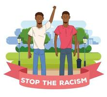 schwarze Männer mit Stop-Rassismus-Kampagne vektor