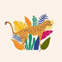 leopard och tropiska blad affisch bakgrund vektorillustration. trendiga djurlivsmönster vektor