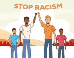 Gruppe von interracial Männern zusammen, stoppen Rassismuskampagne vektor
