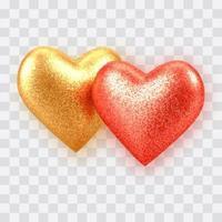 abstrakta 3d realistiska guld- och röda ballonghjärtor med glitterstruktur vektor
