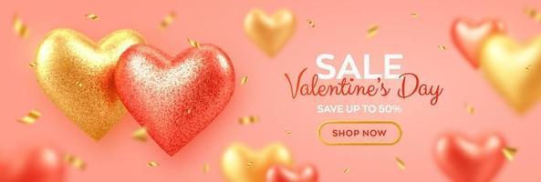 Alla hjärtans dag försäljning banner med glänsande realistiska röda och guld 3d ballonger hjärtan med glitter konsistens och konfetti. bakgrund, flygblad, inbjudan, affisch, broschyr, gratulationskort.