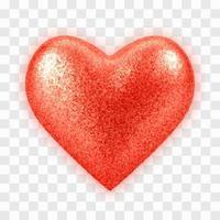 abstrakt 3d realistisk röd ballonghjärta med glitterstruktur vektor