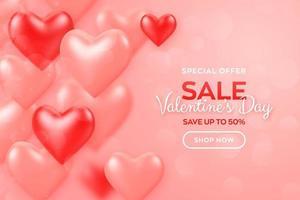 glad alla hjärtans dag. Alla hjärtans dag försäljning banner med röda och rosa ballonger 3d hjärtan bakgrund. tapet, flygblad, inbjudan, affisch, broschyr, gratulationskort. vektor