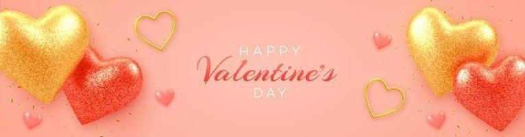 Alla hjärtans dag försäljning banner med lysande realistiska röda och guld 3d ballonger hjärtan med glitter konsistens och konfetti på rosa bakgrund. flygblad, affisch, broschyr, gratulationskort. vektor