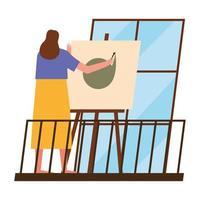 Frau malt zu Hause vektor