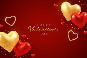 Alla hjärtans dag försäljning banner med glänsande realistiska röda och guld 3d ballonger hjärtan med glitter konsistens och konfetti. bakgrund, flygblad, inbjudan, affisch, broschyr, gratulationskort. vektor