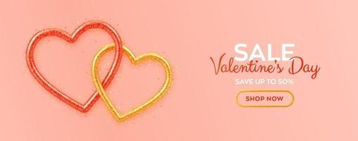Alla hjärtans dag försäljning banner med glänsande realistiska röda och guld 3d hjärtan med glitter konsistens och hjärtformade konfetti. bakgrund, flygblad, affisch, broschyr, gratulationskort. vektor