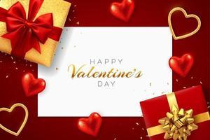 roter Hintergrund des glücklichen Valentinstags mit quadratischem Papierfahne. realistische Geschenkboxen mit roter und goldener Schleife, leuchtend roten und goldenen 3D-Herzen mit Glitzer-Textur und Konfetti.