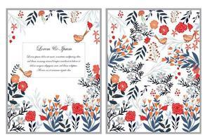 niedlicher süßer roter rosa und blauer wilder Blumenblumenrahmen für Hochzeitskarte vektor
