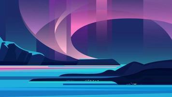 schöne Aurora Borealis Landschaft vektor