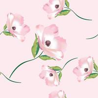 söt rosa blomma sömlösa mönster vektor