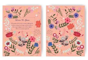 söt söt röd rosa och blå vild blommig blommaram för bröllopskort vektor
