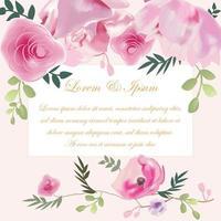 bröllopskort rosa rosblomma vektor