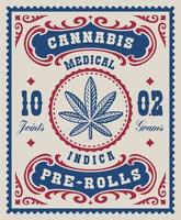 en vintage cannabisetikett för ett paket, den designen kan användas som ett paket för olika marijuana-produkter.