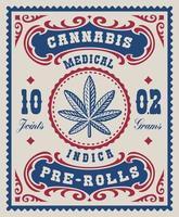 Ein Vintage-Cannabis-Etikett für eine Verpackung. Dieses Design kann als Verpackung für verschiedene Marihuana-Produkte verwendet werden.