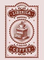 Dieses Design ist ein Vintage-Kaffeelabel und kann als Vorlage für eine Kaffeepackung verwendet werden