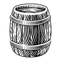 Schwarzweiss-Vektorillustration eines hölzernen Fasses im Gravurstil auf einem weißen Hintergrund. vektor