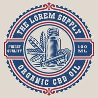 Vintage-Label für ein Cannabis-Thema