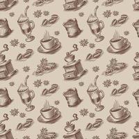retro sömlös bakgrund för ett kaffetema i gravyrstil. vektor
