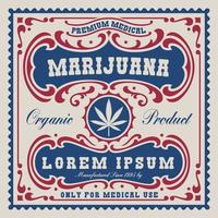 vintage etikett för cannabis tema