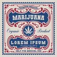 Vintage-Label für Cannabis-Thema