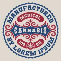 altmodisches bearbeitbares Label für ein Cannabis-Thema