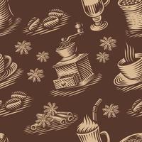 vintage sömlös bakgrund för ett kaffetema vektor
