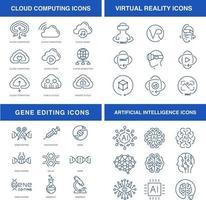 modern teknik ikoner set